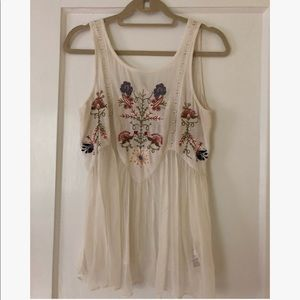 Free People Embroidered Flowy Tank
